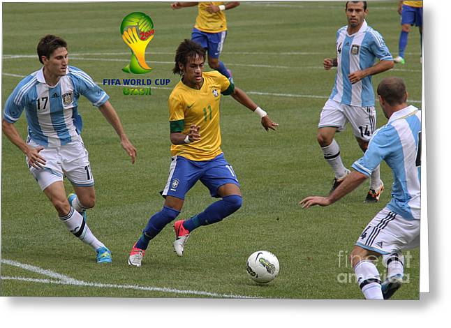 Neymar Doing His Thing Fifa Logo Greeting Card by Lee Dos Santos