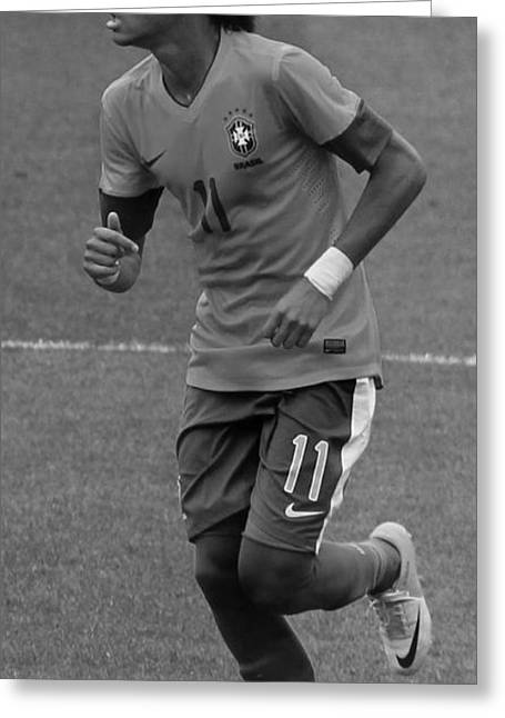 Neymar Running Black And White Greeting Card by Lee Dos Santos