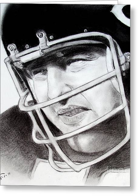 Nfl Hall Of Fame Player Dick Butkus Of The Chicago Bears Greeting Card