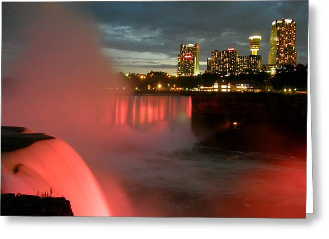 Greeting Card featuring the photograph Niagara Falls At Night by Mark J Seefeldt