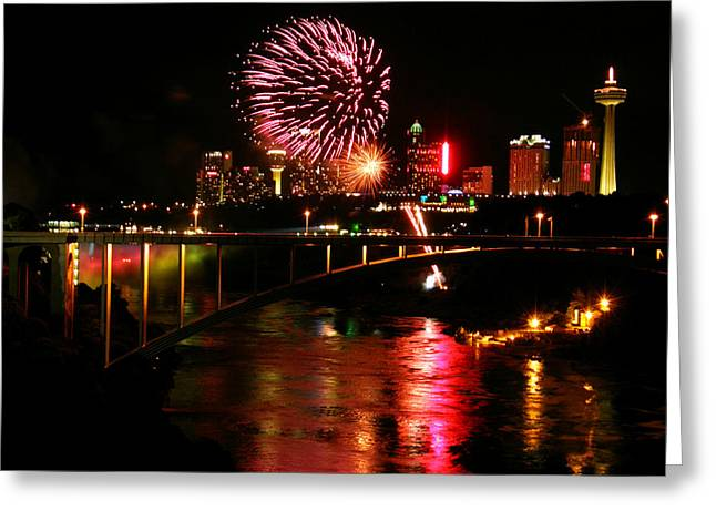 Greeting Card featuring the photograph Niagara Falls Fireworks by Mark J Seefeldt