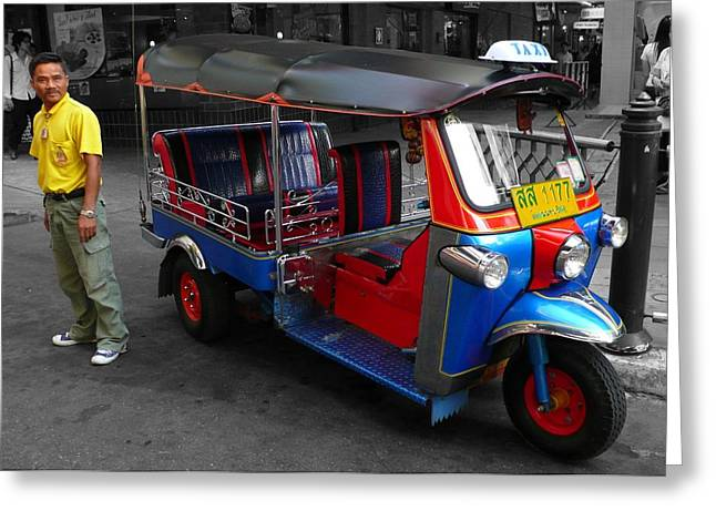 Nice Tuk Tuk Taxi And Driver Greeting Card by Gregory Smith