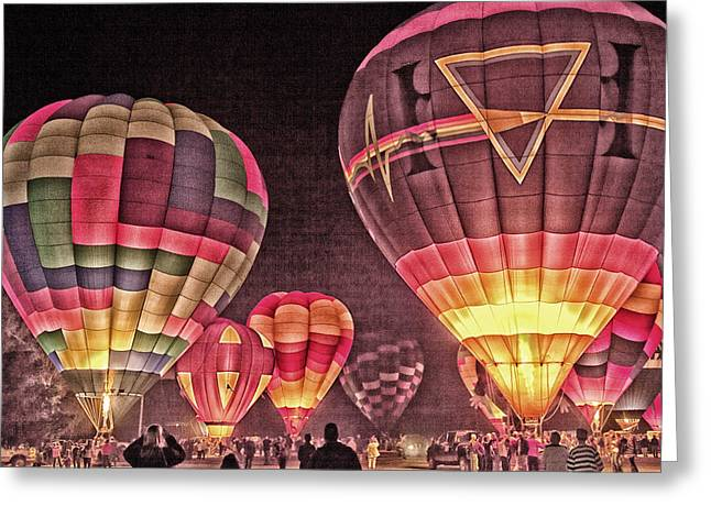 Night Balloon Lighting Greeting Card by James Bethanis