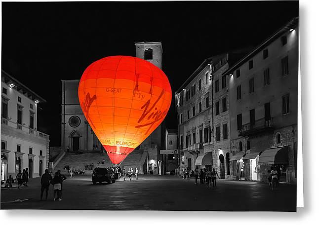 Night Balloon Greeting Card by Michael Avory