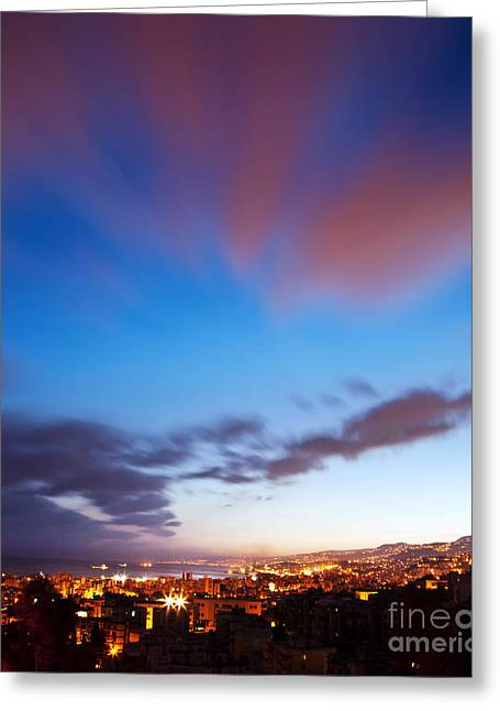 Night City Landscape  Greeting Card by Anna Om