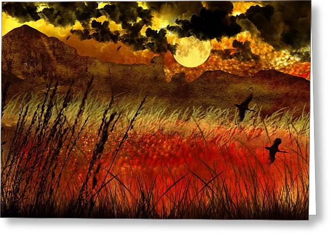 Night Falls Over The Land Greeting Card by Ellen Heaverlo