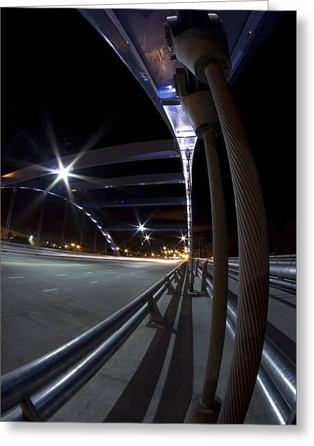 Night Fisheye Bridge Scene Greeting Card by Sven Brogren