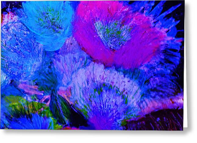 Night Flowers Greeting Card by Anne-Elizabeth Whiteway