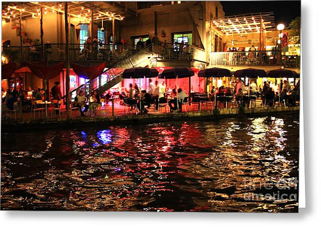 Night Glow On River Walk Greeting Card by Carol Groenen