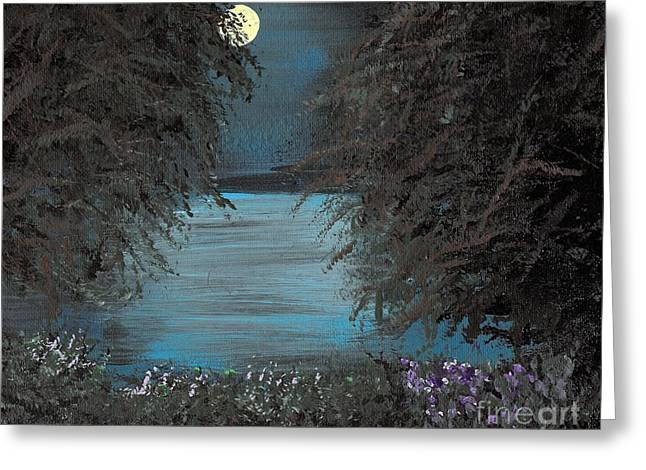 Greeting Card featuring the painting Night In The Bayou by Alys Caviness-Gober