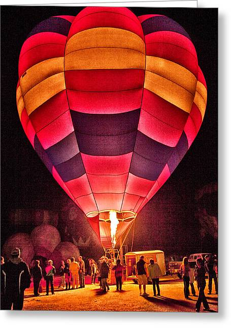Night Lighting Of Ballon Greeting Card by James Bethanis