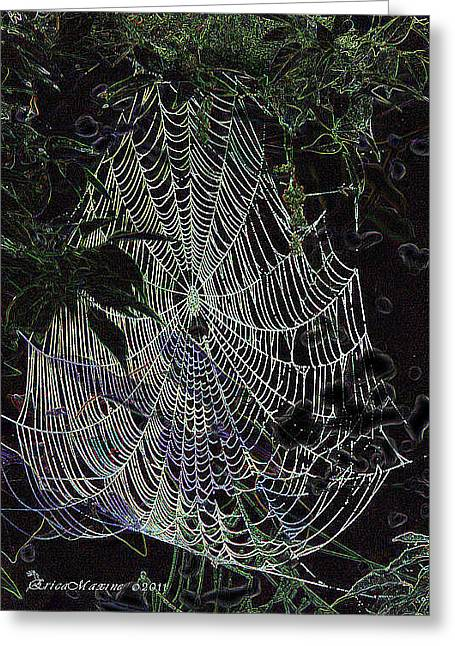 Greeting Card featuring the photograph Night Lines by EricaMaxine  Price