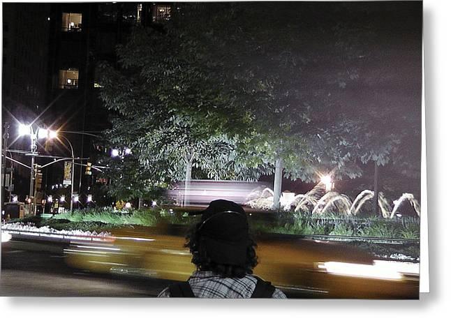 Night Look At Columbus Circle Greeting Card by Cathy Brown
