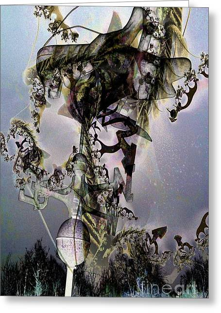 Night Of The Banshee Greeting Card by Ron Bissett