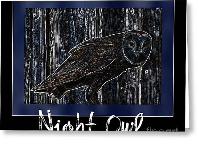 Night Owl Poster - Digital Art Greeting Card by Carol Groenen