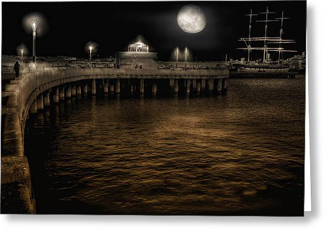 Night Port Greeting Card by Michael Cleere