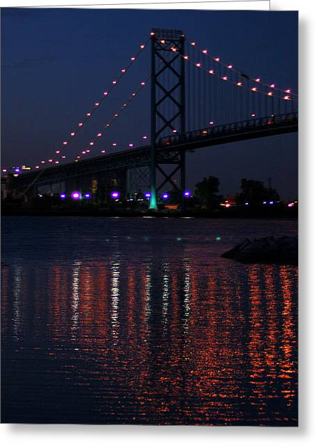 Night Reflections-detroit River Greeting Card