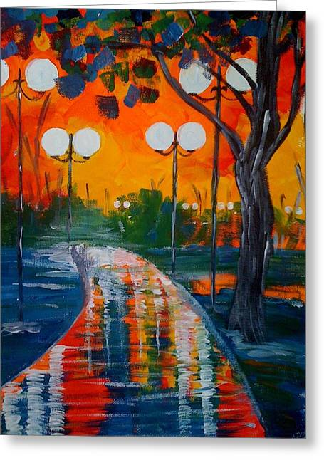 Greeting Card featuring the painting Night Reflections by Judi Goodwin
