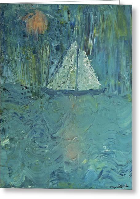 Night Sail Greeting Card by Wayne Potrafka