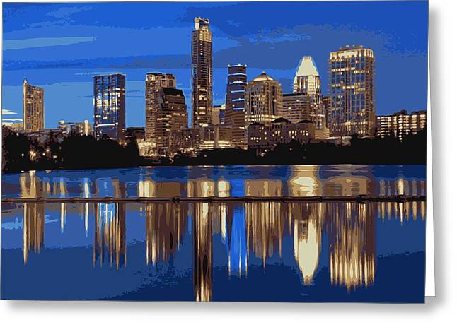 Night Skyline Color 16 Greeting Card by Scott Kelley