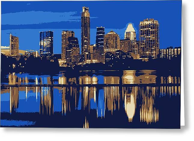 Night Skyline Color 6 Greeting Card by Scott Kelley