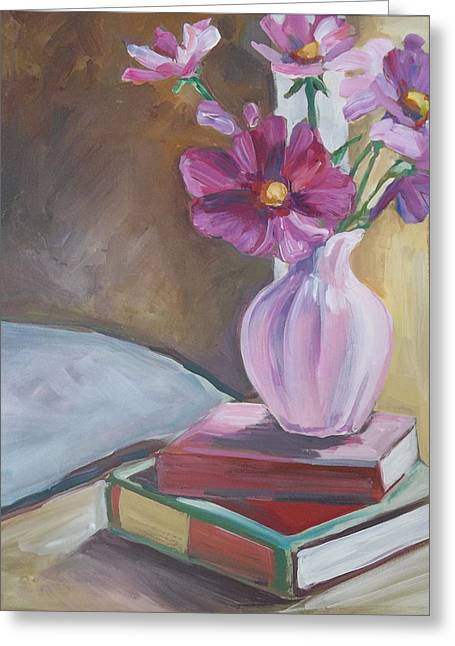 Night Stand With Flowers And Books Greeting Card by Michelle Grove