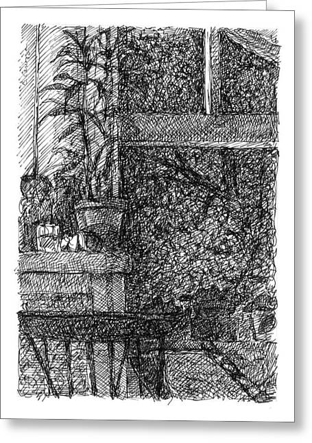 Interior Still Life Drawings Greeting Cards - Night Time Window Study Greeting Card by Elizabeth Carrozza