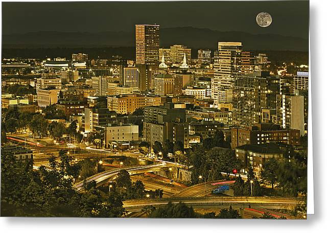 Night View Of Portland City Downtown Greeting Card by Tatiana Boyle