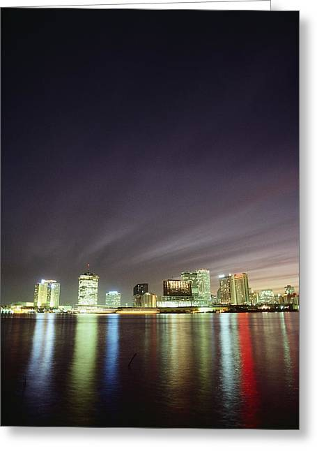 Night View Of The New Orleans Skyline Greeting Card by Kenneth Garrett