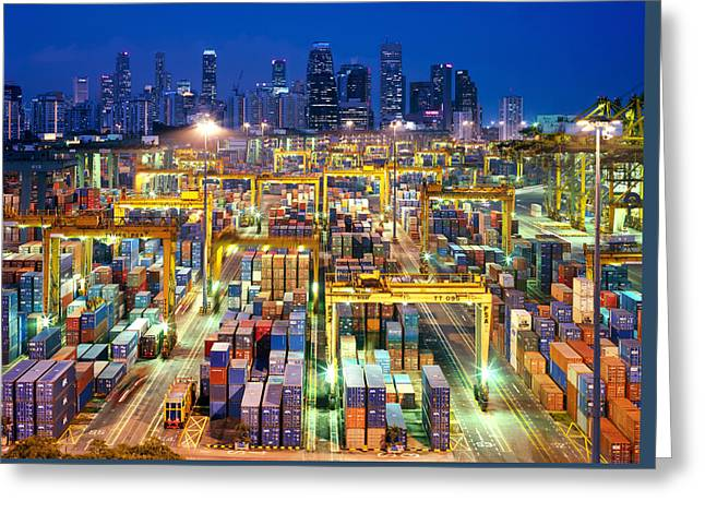 Night View Of The Port Of Singapore Greeting Card by Justin Guariglia