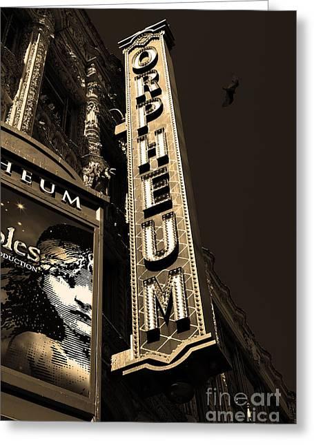 Nightfall At The Orpheum - San Francisco California - 5d17991 - Sepia Greeting Card by Wingsdomain Art and Photography