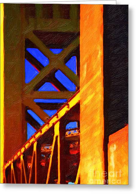 Nightfall Over Sacramento In Abstract . Vision 2 Greeting Card by Wingsdomain Art and Photography
