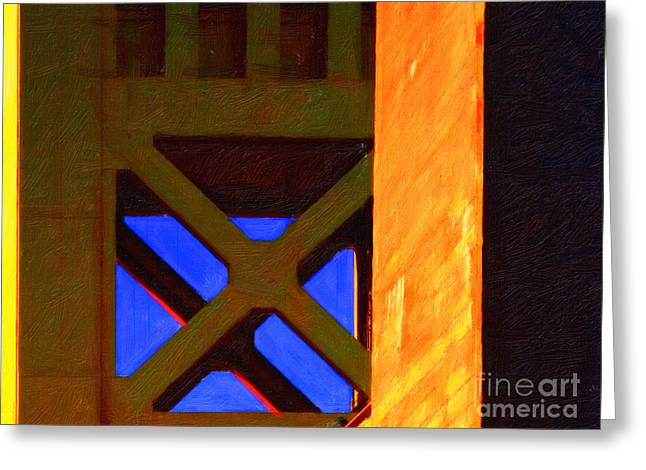 Nightfall Over Sacramento In Abstract . Vision 3 Greeting Card by Wingsdomain Art and Photography