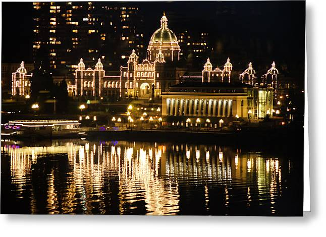 Nightscape Of Parliment Greeting Card