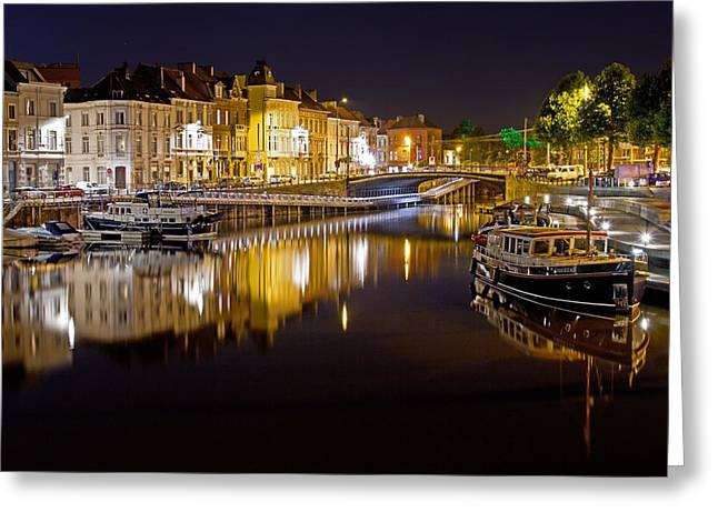 Nighttime Along The River Leie Greeting Card