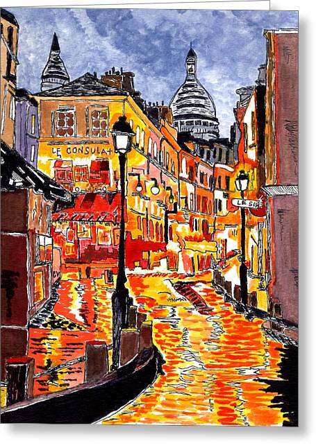 Nighttime In Paris Greeting Card by Connie Valasco