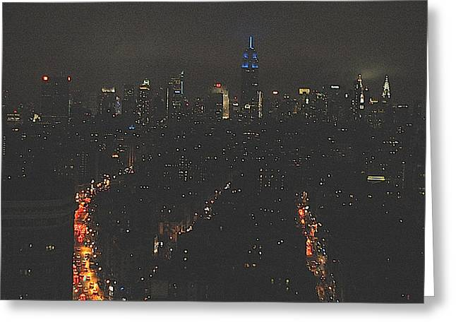 Nighttime Manhattan Skyline From Houston Street Greeting Card