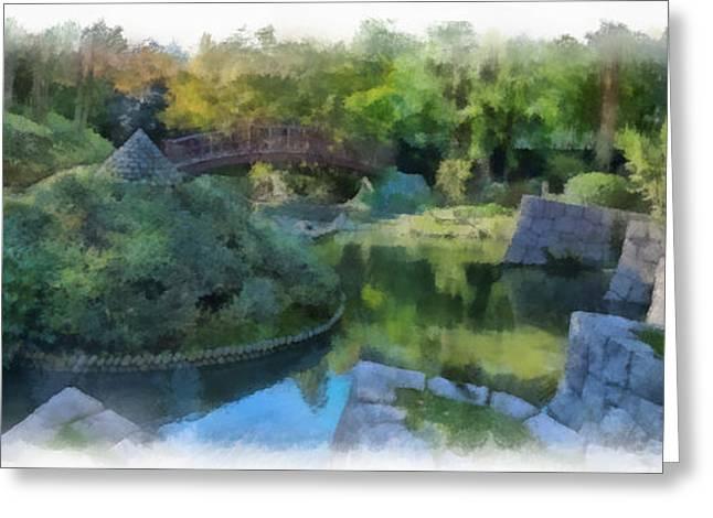 Nihon Teien 4 Aquarell Greeting Card by Wessel Woortman