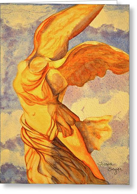 Greeting Card featuring the painting Nike Goddess Of Victory by Teresa Beyer