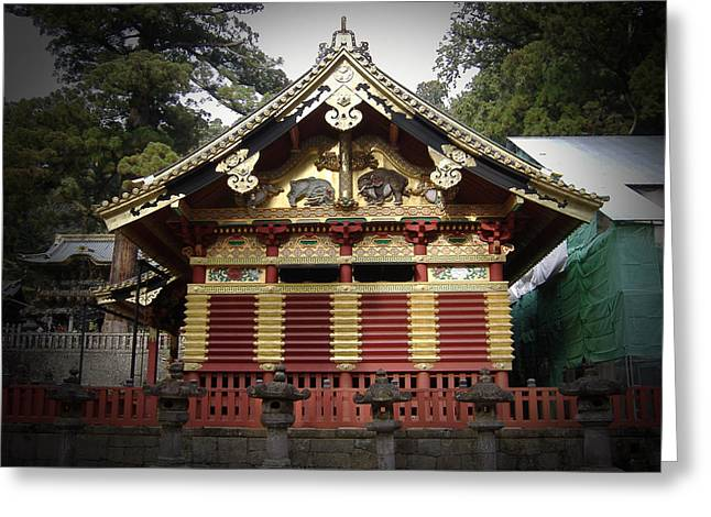 Nikko Architecture With Gold Roof Greeting Card by Naxart Studio