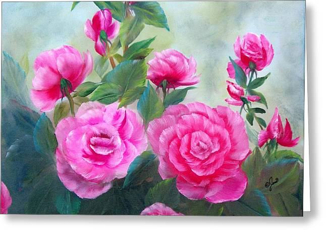 Nine Pink Roses Greeting Card by Joni McPherson