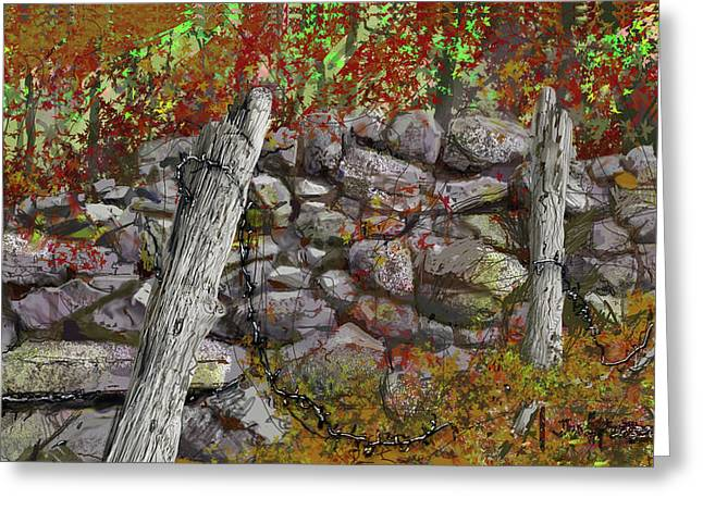 Greeting Card featuring the drawing N.j. Rock Fence by Jim Hubbard