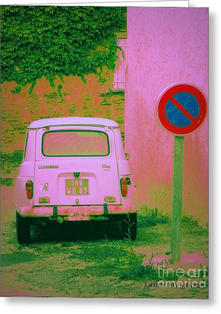 No Parking Sign With Pink Car Greeting Card by Lainie Wrightson