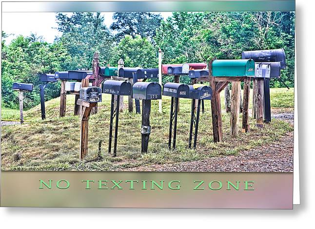 No Texting Zone Greeting Card by Stephen Warren