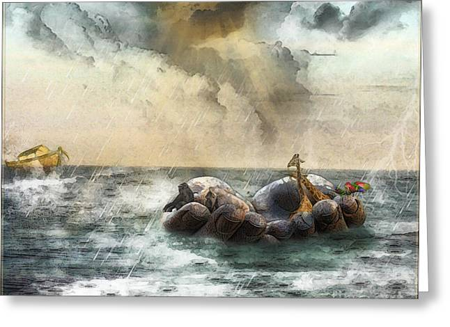 Greeting Card featuring the digital art Noah's Ark Stragglers by Rhonda Strickland