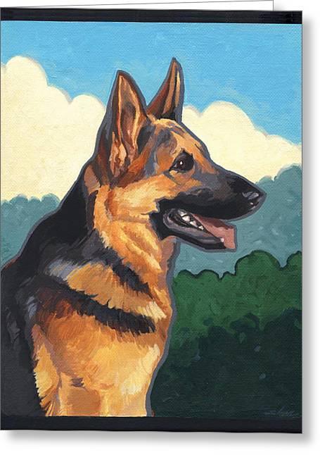 Noble German Shepherd Dog Greeting Card by Shawn Shea