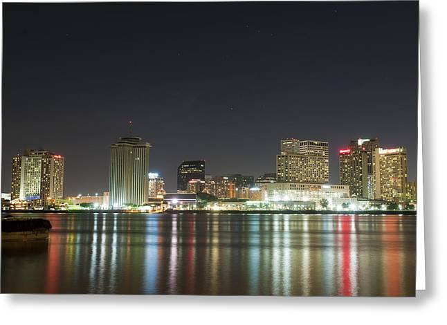 Greeting Card featuring the pyrography Nola Nights by Ray Devlin