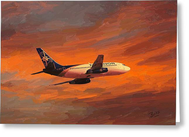 Greeting Card featuring the painting Nolinor Aviation Boeing 737 Leaves Montreal Mirabel by Nop Briex