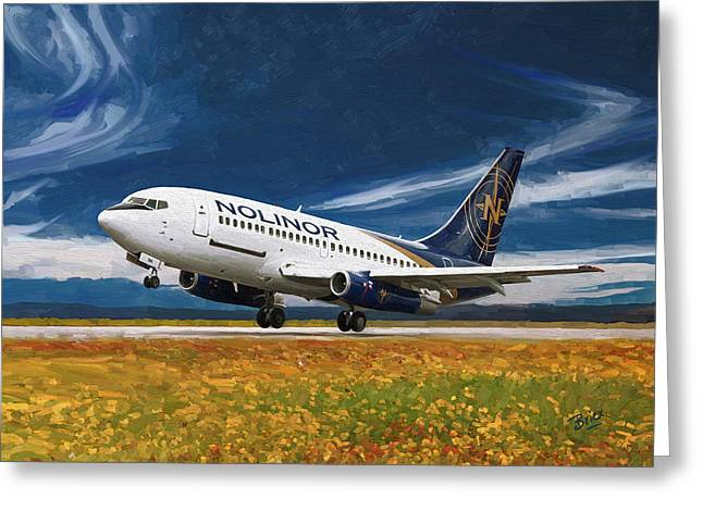 Greeting Card featuring the painting Nolinor Aviation Boeing 737 Takes Off by Nop Briex