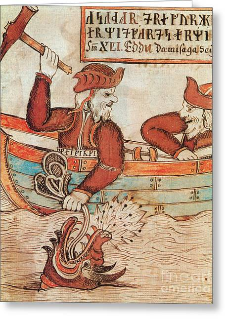 Norse Mythology Thors Fishing Trip Greeting Card by Photo Researchers